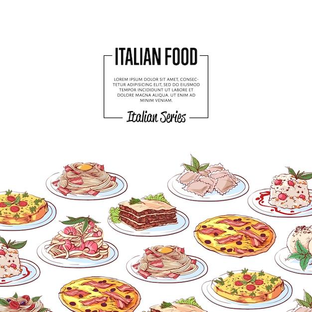 Italiaanse voedselachtergrond met nationale keukenschotels Premium Vector