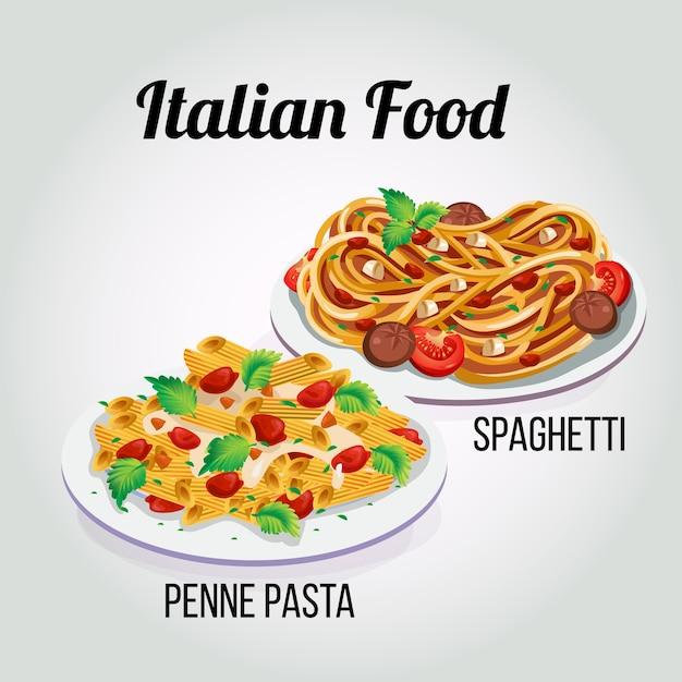 Italiaanse voedseldeegwaren Premium Vector