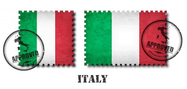 Italië of de italiaanse postzegel van het vlagpatroon Premium Vector