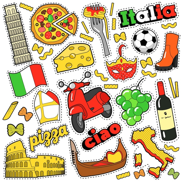 Italië travel scrapbook stickers, patches, badges voor prints met pizza, venetiaans masker, architectuur en italiaanse elementen. komische stijl doodle Premium Vector