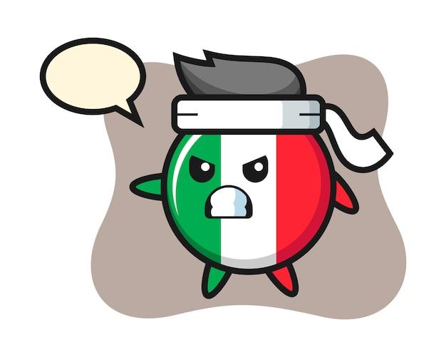 Italië vlag badge cartoon afbeelding als een karatevechter, schattige stijl, sticker, logo-element Premium Vector