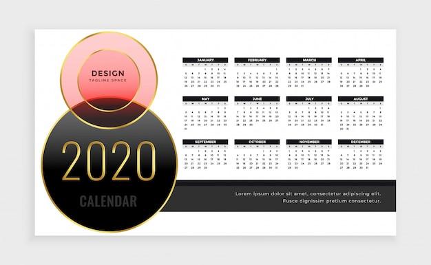 Jaar 2020 kalendersjabloon in luxe stijl Gratis Vector