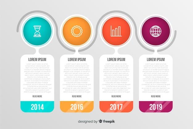 Jaarlijks rapport zakelijke tijdlijn inforgraphic Gratis Vector