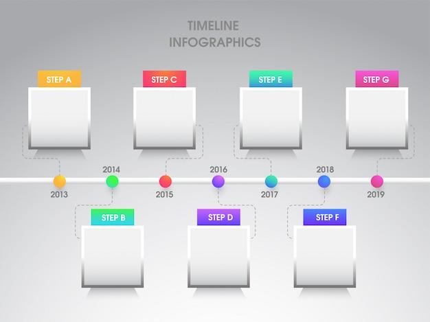 Jaarlijkse groei of succes concept infographic elementen met zeven Premium Vector