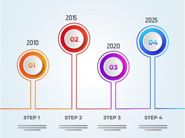 Jaarlijkse groei of succesconcept infographic elementen met vier Premium Vector
