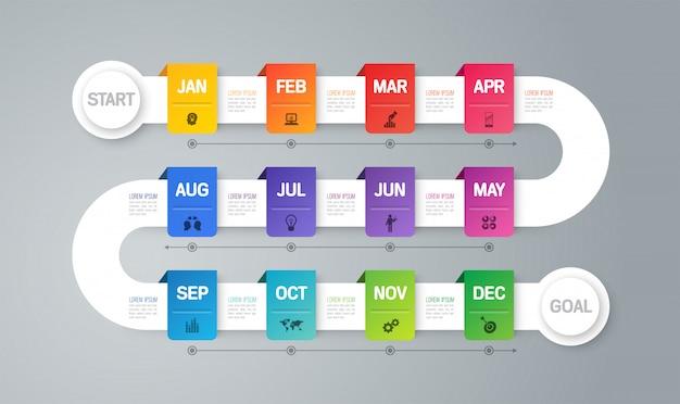 Jaarplan tijdlijn infographic elementen Premium Vector