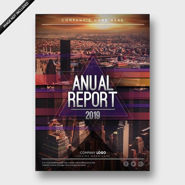 Jaarverslag 2019 bedrijfsbrochure Premium Vector