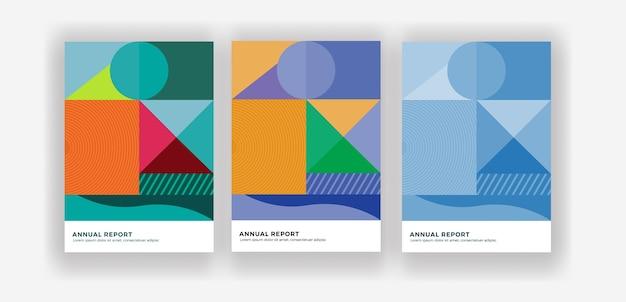 Jaarverslag brochureontwerp in kubisme stijl Premium Vector