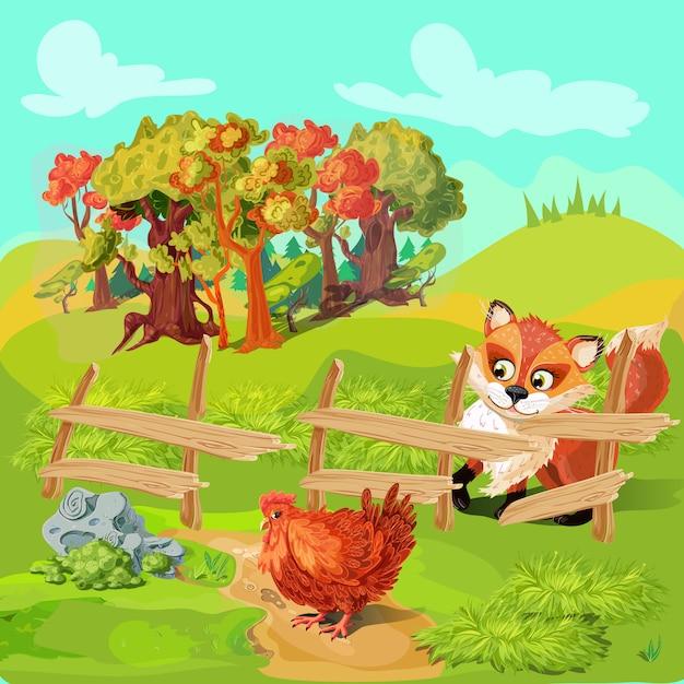 Jacht fox farm samenstelling Gratis Vector