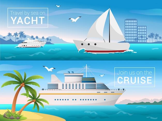 Jacht in de baai van tropisch eiland, oceaanzeecruisevoering op de eilanden. Premium Vector