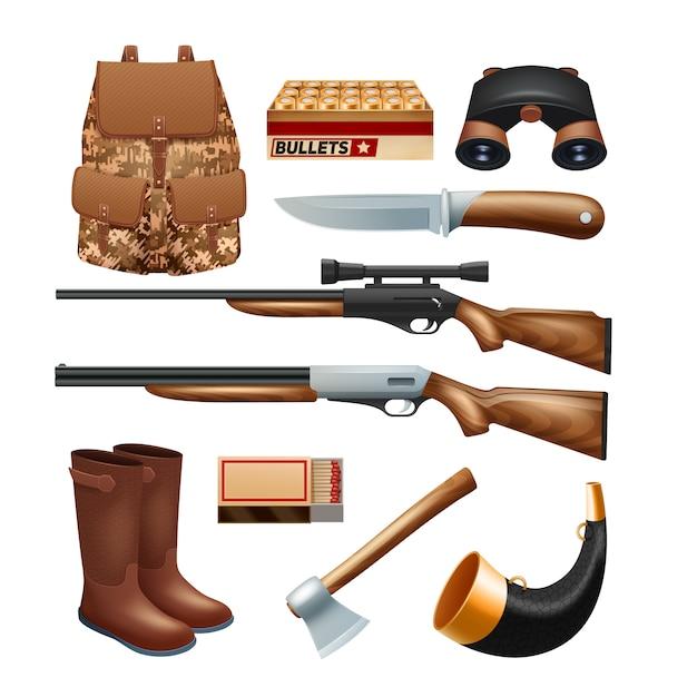 Jacht pakken en apparatuur pictogrammen instellen met geweren messen en survival kit Gratis Vector