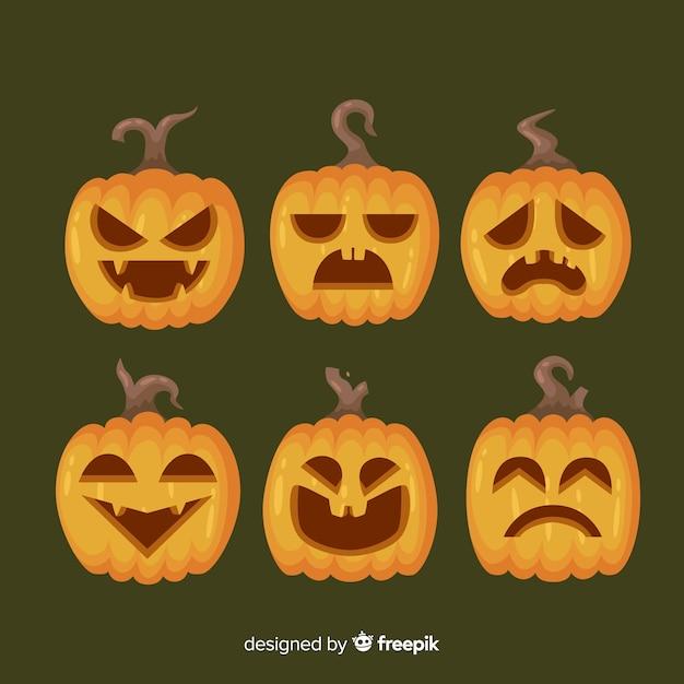 Jack o lantaarn platte halloween pompoen gezichten Gratis Vector