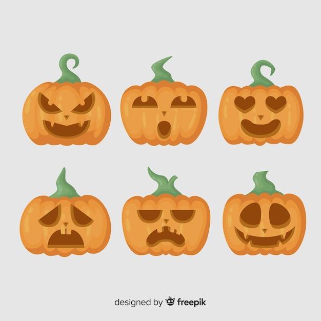 Jack o lantaarn platte halloween pompoen met stengels Gratis Vector