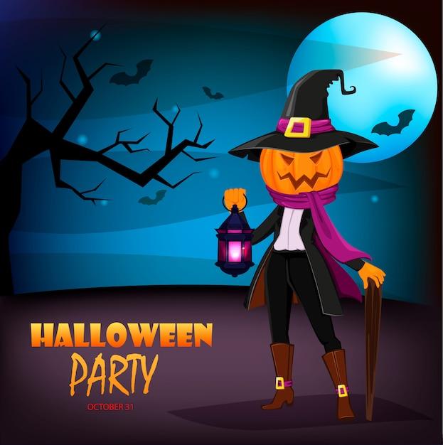 Jack o 'lantern met pompoen in plaats van hoofd. uitnodiging voor halloween-feest Premium Vector