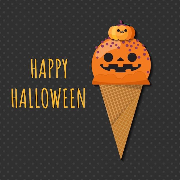 Halloween Ijs.Jack O Lantern Pompoen Halloween Ijs Vector Premium