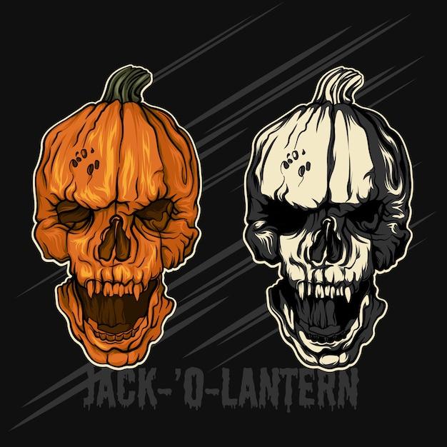 Jack-´o-lantern pompoenen halloween Premium Vector
