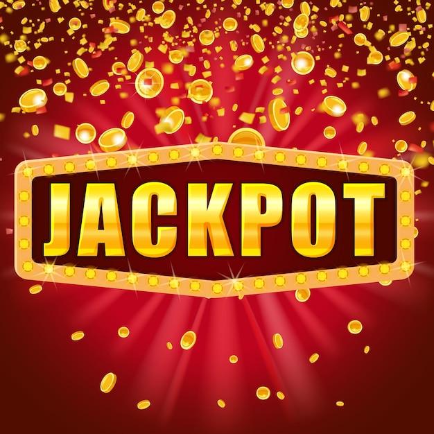 Jackpot word schijnt retro teken verlicht door schijnwerpers vallende munten en confetti. loterij casino Premium Vector