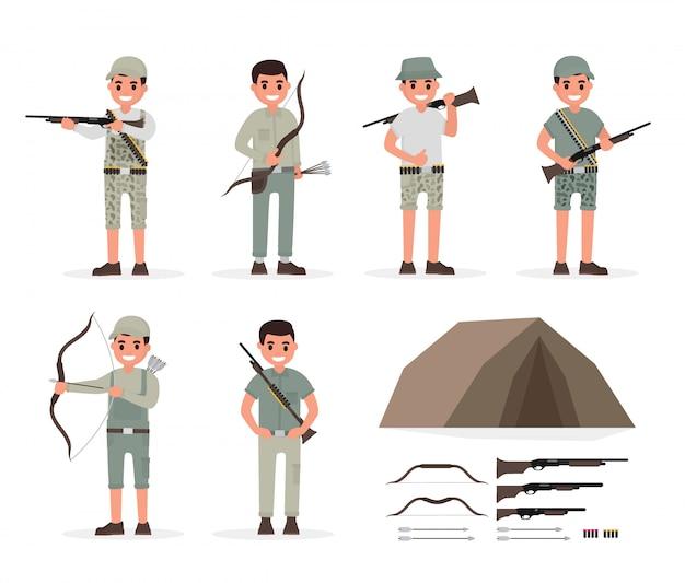 Jager, jager, jachtopziener, boswachter en boogschutter elementen Premium Vector