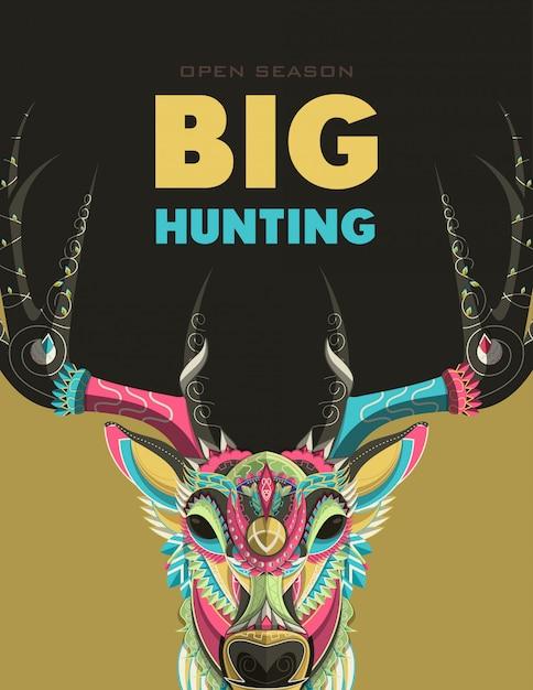 Jagersclub of jagen op open season posters Premium Vector
