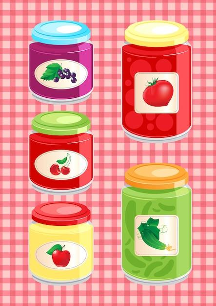 Jam en groenten in het zuur in glazen potten op de achtergrond geruit tafelkleed Premium Vector