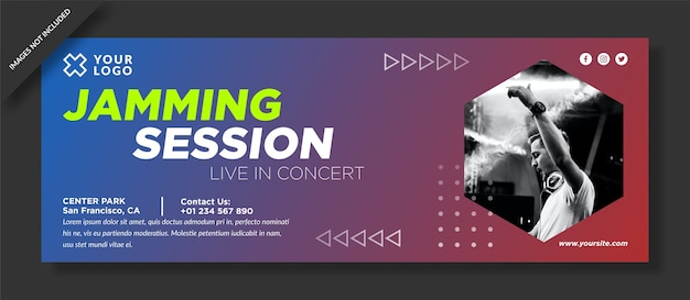 Jamming-sessie facebook omslag en social media post Premium Vector