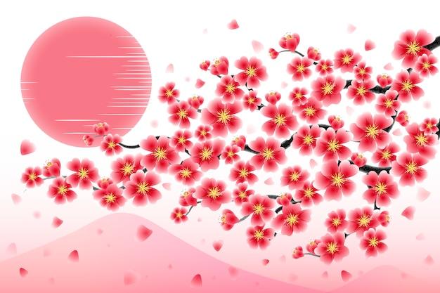 Japan cherry branch achtergrond Premium Vector