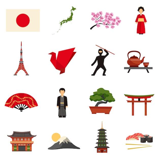 Japan cultuur vlakke pictogrammen instellen Gratis Vector