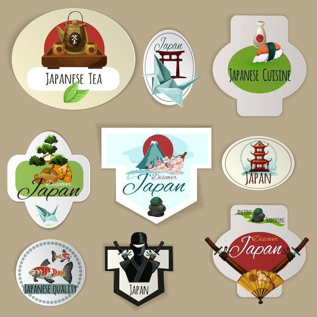 Japan emblemen instellen Gratis Vector