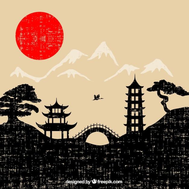 Japan landschap in grunge stijl Gratis Vector