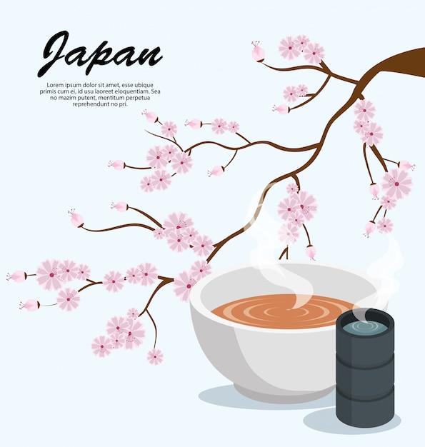 Japan sakura boom soep en thee Gratis Vector
