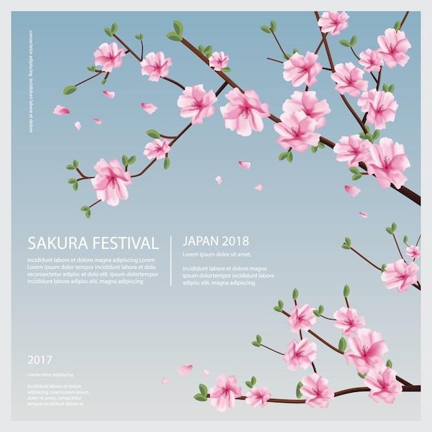 Japan sakura flower met bloeiende bloemen illustratie Premium Vector