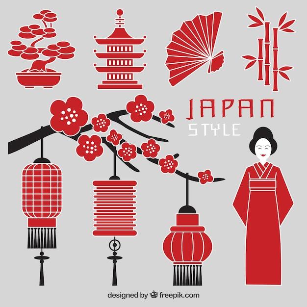 Japan stijl Gratis Vector