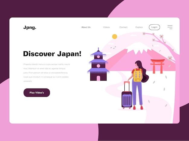 Japan travel website vlakke afbeelding Premium Vector
