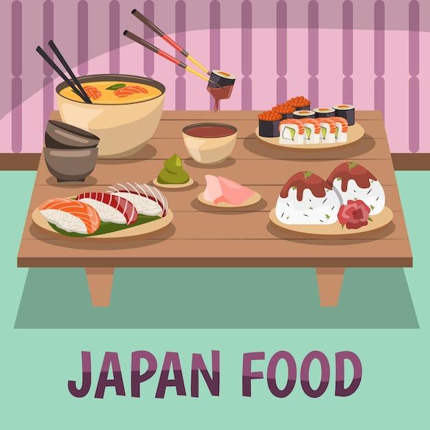 Japan voedsel samenstelling bckground poster Gratis Vector