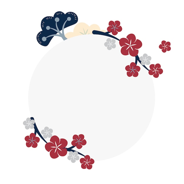 Japans bloemenframe Gratis Vector