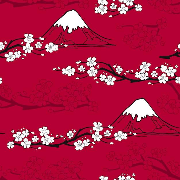 Japans bloemenpatroon Gratis Vector