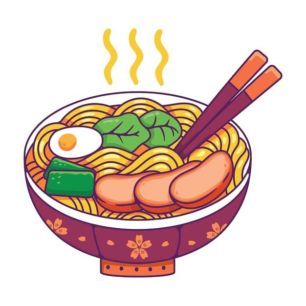 Japans eten in een kom Premium Vector