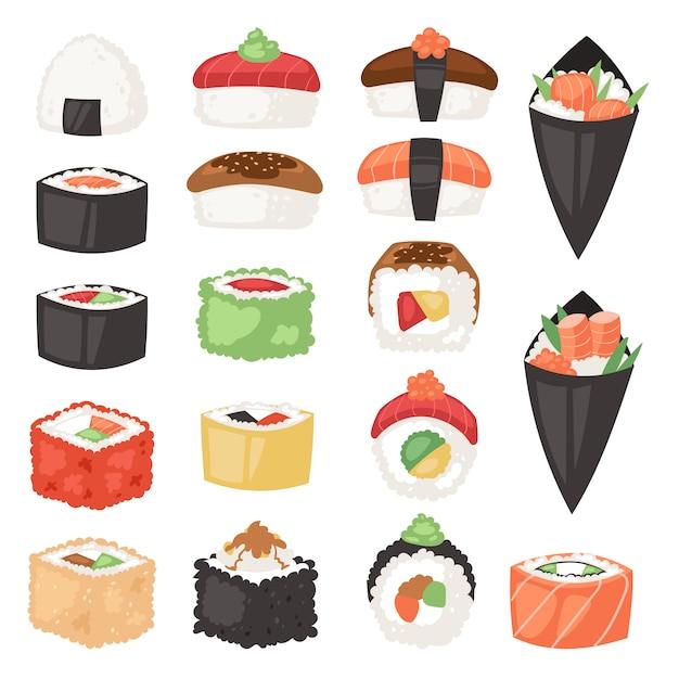 Japans eten sushi sashimi roll of nigiri en voorgerecht met zeevruchten rijst in japan restaurant illustratie japanisering keuken set geïsoleerd op een witte achtergrond Premium Vector