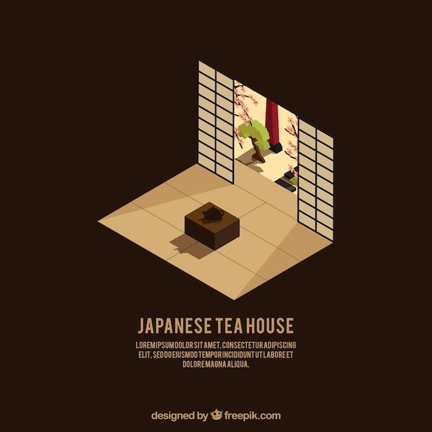 Japans huis in isometrische stijl Gratis Vector