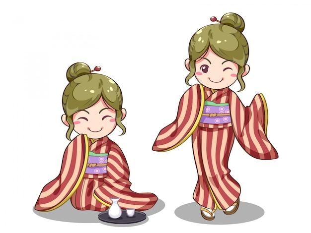 Japans meisje vector afbeelding Premium Vector