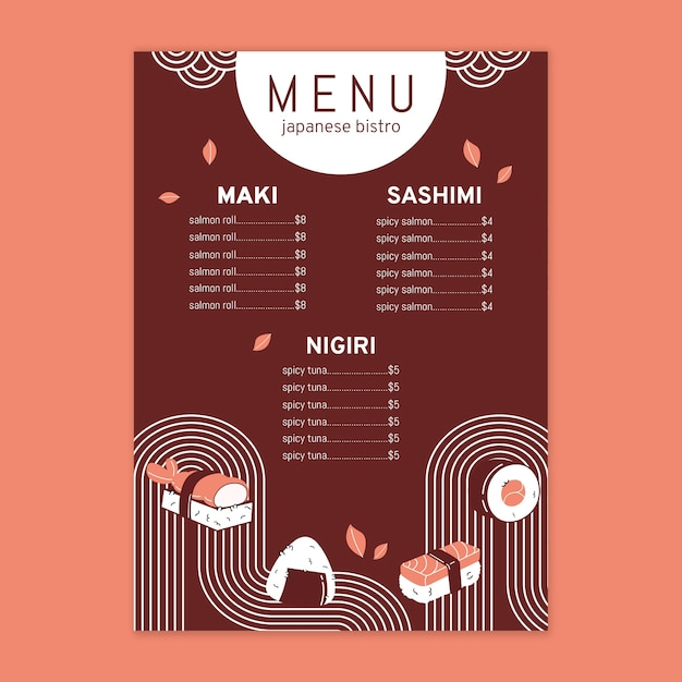 Japans restaurant menusjabloon Gratis Vector