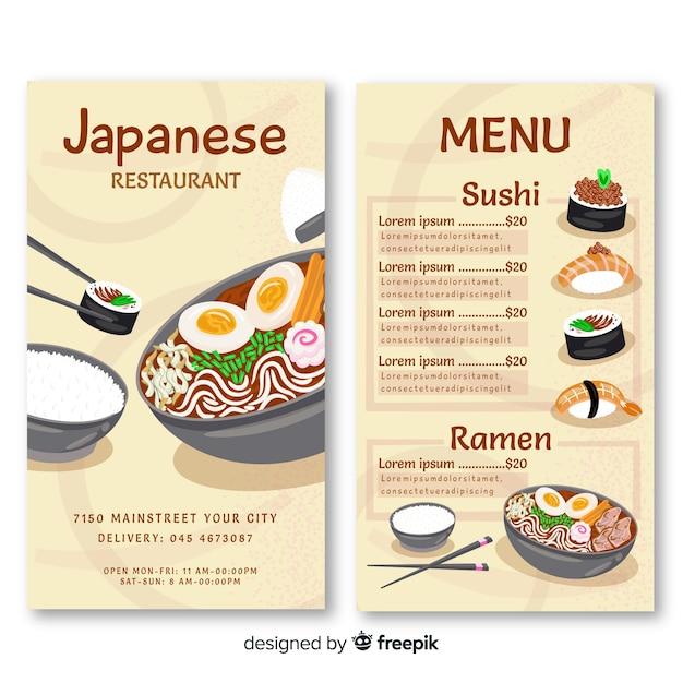 Japans restaurant verticale menusjabloon Gratis Vector