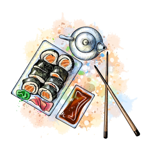 Japans voedselmenu. vegetarische set van een scheutje aquarel, hand getrokken schets. vector illustratie van verven Premium Vector