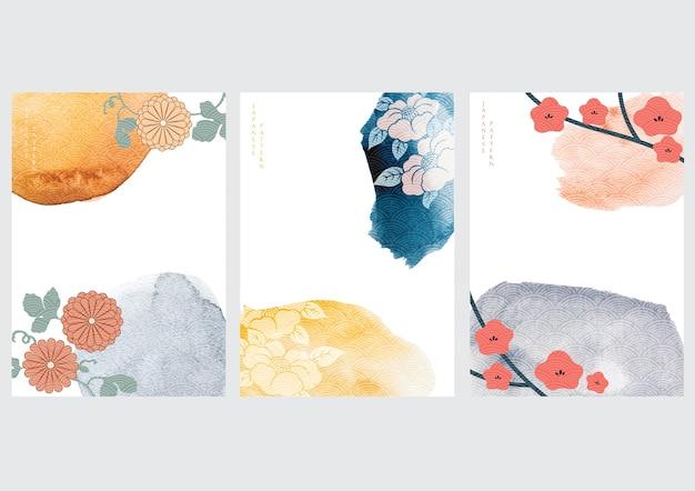 Japanse achtergrond met aquarel textuur. kersenbloesem bloem pictogrammen en golf symbolen. oosters traditioneel posterontwerp. abstract patroon en sjabloon. Premium Vector