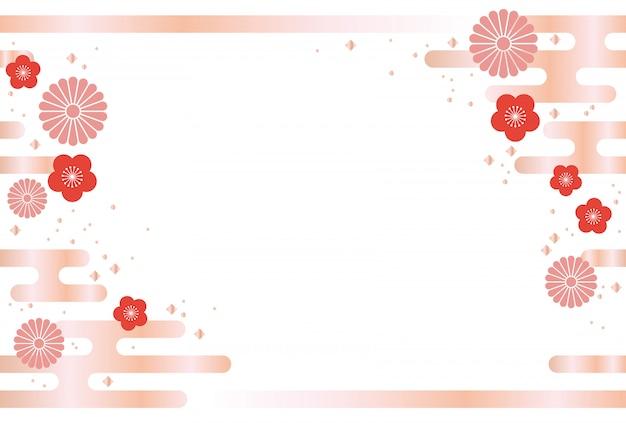 Japanse achtergrond met traditionele bloemen en wolken Premium Vector