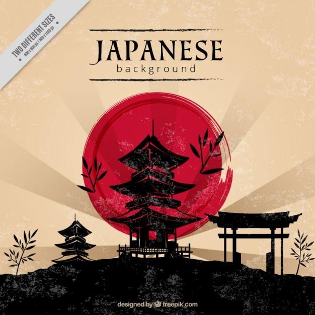 Japanse achtergrond van het landschap met een tempel Gratis Vector