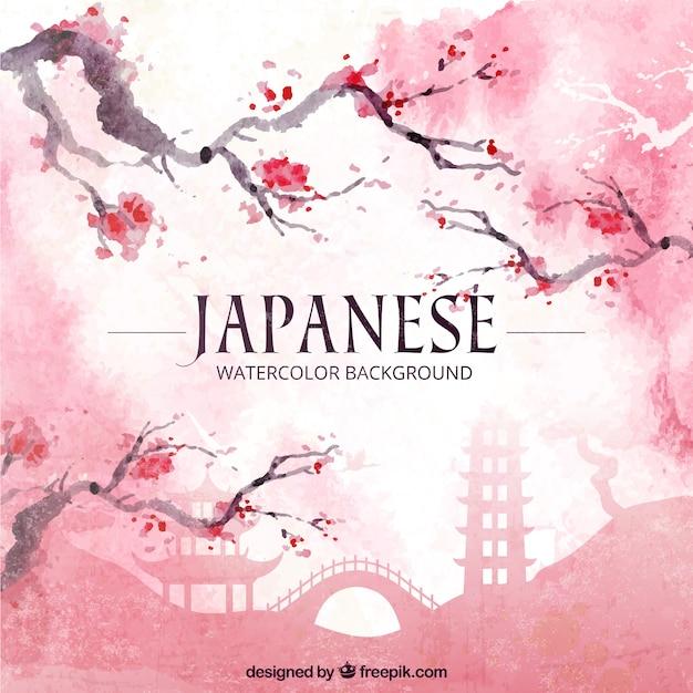 Japanse aquarel achtergrond japanse aquarel achtergrond met bloesems Premium Vector