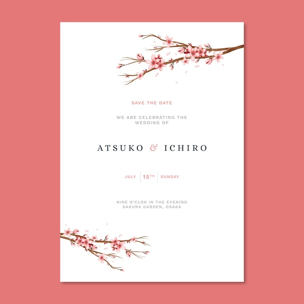 Japanse bruiloft uitnodiging met sakura bloemen Gratis Vector