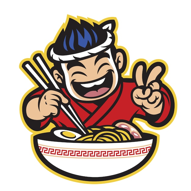 Japanse cartoon chef eten de ramen Premium Vector