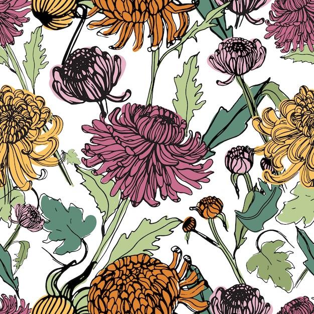 Japanse chrysant hand getekende naadloze patroon met toppen, bloemen, bladeren. kleurrijke vintage stijl illustratie. Premium Vector